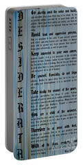 Desiderata 14 Portable Battery Charger by Wendy Wilton