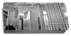 Detroit Black And White Portable Battery Charger by Frozen in Time Fine Art Photography