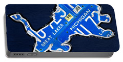 Detroit Lions Football Team Retro Logo License Plate Art Portable Battery Charger