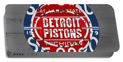 Detroit Pistons Basketball Team Retro Logo Vintage Recycled Michigan License Plate Art Portable Battery Charger
