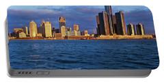 Detroit Skyline At Sunrise Portable Battery Charger