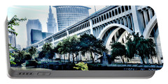 Portable Battery Charger featuring the photograph Detroit-superior Bridge - Cleveland Ohio - 1 by Mark Madere