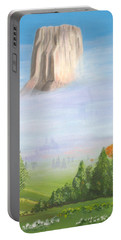 Portable Battery Charger featuring the painting Devil's Tower  by Phyllis Kaltenbach