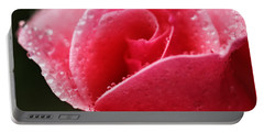 Dew Drops On Pink Portable Battery Charger