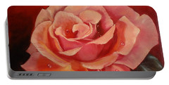 Portable Battery Charger featuring the painting Dew Drops On Pink Rose by Jenny Lee
