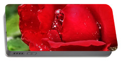Dew Drops On Red Portable Battery Charger