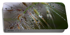 Dew On Fountain Grass Portable Battery Charger by Joe Schofield