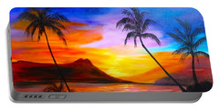 Portable Battery Charger featuring the painting Diamond Head Sunset 11 by Jenny Lee