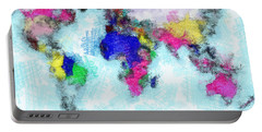 Digital Art Map Of The World Portable Battery Charger by Georgi Dimitrov