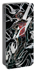 Portable Battery Charger featuring the painting Dinka Dance by Gloria Ssali