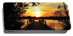 Disappearing Sun  Portable Battery Charger by Cynthia Guinn