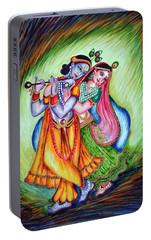 Portable Battery Charger featuring the painting Divine Lovers by Harsh Malik