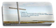 Belin Church Cross At Murrells Inlet With Bible Verse Portable Battery Charger by Vizual Studio