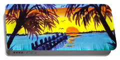 Portable Battery Charger featuring the painting Dock At Sunset by Ecinja Art Works