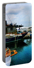 Docked Boats In Newport Ri Portable Battery Charger by Susan Savad