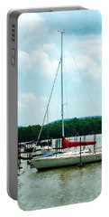 Docked On The Hudson River Portable Battery Charger by Susan Savad