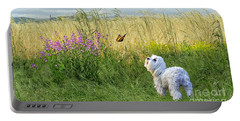 Dog And Butterfly Portable Battery Charger by Andrea Auletta