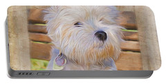 Dog Art - Just One Look Portable Battery Charger by Jordan Blackstone