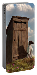 Dog Guarding An Outhouse Portable Battery Charger by Daniel Eskridge