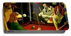 Dogs Playing Pool Wall Art Unknown Painter Portable Battery Charger by Kathy Barney