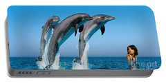 Dolphin Dreams Portable Battery Charger by Marvin Blaine