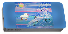 Dolphin Plays With Duckling Portable Battery Charger by Phyllis Kaltenbach