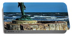 Dolphin Statue Portable Battery Charger by Judy Vincent
