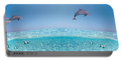 Dolphins Leaping In Air Portable Battery Charger by Panoramic Images