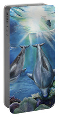 Dolphins Playing Portable Battery Charger