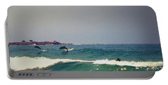 Dolphins Swimming With The Surfers At Asilomar State Beach  Portable Battery Charger
