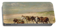 Donkeys On The Beach Portable Battery Charger by Johannes Hubertus Leonardus de Haas