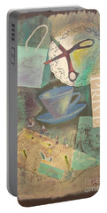 Portable Battery Charger featuring the painting Don't Be Blue by Mini Arora