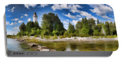 Door County Cana Island Lighthouse Panorama Portable Battery Charger