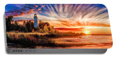 Door County Cana Island Lighthouse Sunrise Panorama Portable Battery Charger