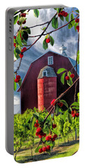 Door County Cherry Harvest Red Barn Portable Battery Charger