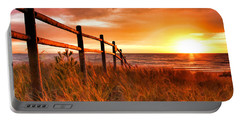 Door County Europe Bay Fence Sunrise Portable Battery Charger by Christopher Arndt