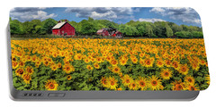 Door County Field Of Sunflowers Panorama Portable Battery Charger