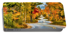 Door County Road To Northport In Autumn Portable Battery Charger