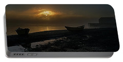 Portable Battery Charger featuring the photograph Dories Beached In Lifting Fog by Marty Saccone