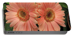 Portable Battery Charger featuring the photograph Double Delight - Coral Daisies by Dora Sofia Caputo Photographic Art and Design