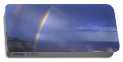 Double Rainbow At Cape Royal Grand Canyon National Park Portable Battery Charger