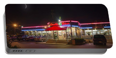 Double T Diner At Night Portable Battery Charger by Brian Wallace