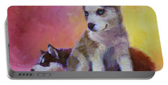 Double Trouble - Alaskan Husky Sled Dog Puppies Portable Battery Charger