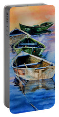 Portable Battery Charger featuring the painting Down East Dories At Dawn by Hanne Lore Koehler