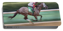 Down The Stretch - Horse Racing - Jockey Portable Battery Charger by Jason Politte