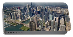 Downtown Chicago Aerial Portable Battery Charger by Adam Romanowicz