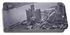 Downtown Detroit Portable Battery Charger by Nicholas  Grunas