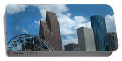 Portable Battery Charger featuring the photograph Downtown Houston With Ferris Wheel by Connie Fox