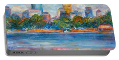 Downtown Minneapolis Skyline From Lake Calhoun II - Or Commission Your City Painting Portable Battery Charger