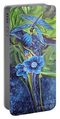 Dragonfly Hunt For Food In The Flowerhead Portable Battery Charger by Kimberlee Baxter